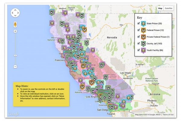 California jails, state prisons, federal prisons map